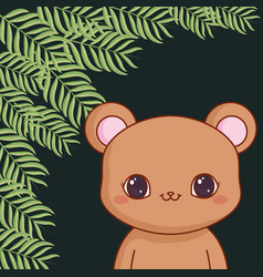 Cute bear teddy with leafs vector
