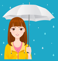 Cute girl with a yellow raincoat vector