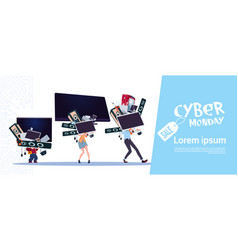 Cyber monday poster with family carry stack of vector