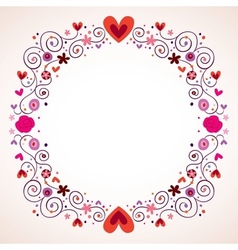 decorative hearts and flowers frame vector image