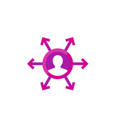 Delegation management icon for web vector