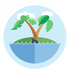 Digital island with water palm tree vector