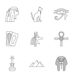 Egypt history icons set outline style vector