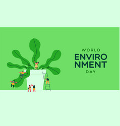 Environment day card people and green plant vector