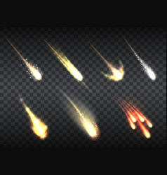 falling comets set on transparent vector image