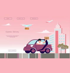 Fast delivery car vector