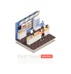 Fast food restaurant isometric composition vector