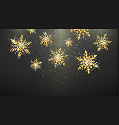 festive golden snowflakes isolated on dark vector image