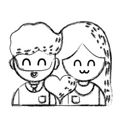 Figure couple with beauty relation ships and heart vector