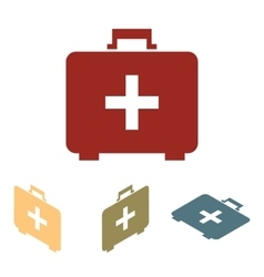 First aid box icon set Isometric effect vector