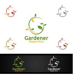 gardener care logo with green garden environment vector image