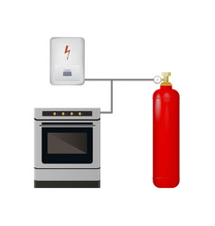 gas stove and boiler with cylinder vector image