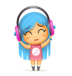 Girl headphones happy listen music isolated 3d vector