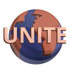 Global unite icon cartoon style vector