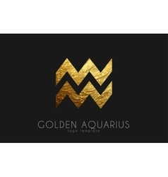 Golden aquarius Golden zodiac sign Aquarius vector image