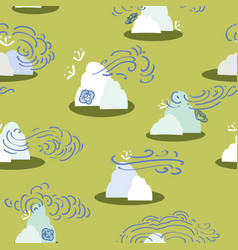 green pattern with mountain and cloud vector image