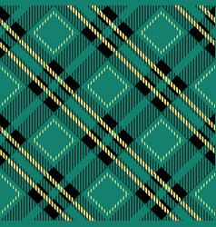 green tartan fabric texture diagonal pattern vector image