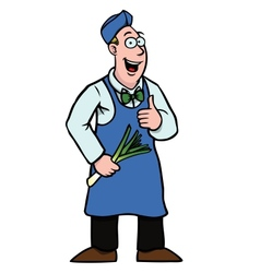 greengrocer with leek and his thumbs up vector image
