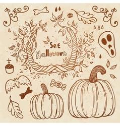 Hallowen hand-drawn set Autumn template vector
