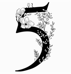 Hand drawn floral number five monogram and vector