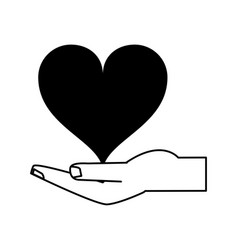 hand holding heart icon image vector image