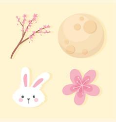 happy mid autumn festival head rabbit sakura vector image