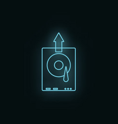 hard disk neon icon web development icon element vector image