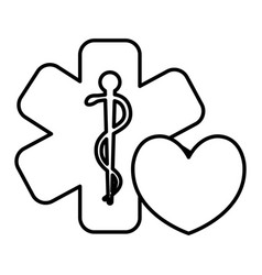 heart cardio with medical symbol vector image