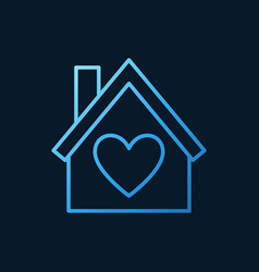 house with heart blue line icon love home vector image