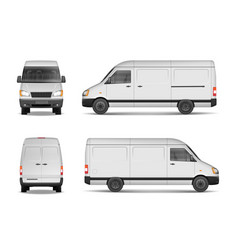 Isolated commercial delivery vehicle set white vector
