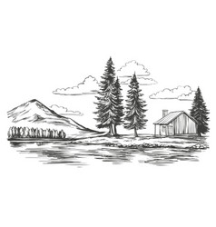 lake summer landscape house in fores vector image