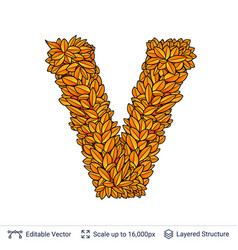 letter v sign of autumn leaves vector image