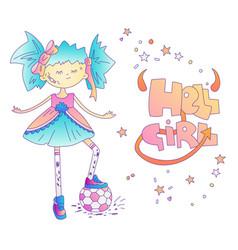 little bads girl concept girl with soccer ball vector image