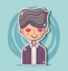 Man lover with hairstyle design vector
