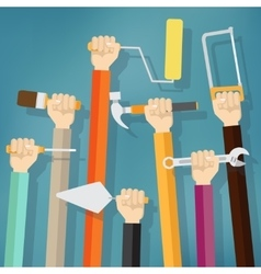 Many hands holds up instruments and tools vector image