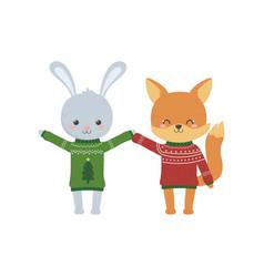 merry christmas celebration cute rabbit and fox vector image