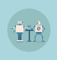Modern robots playing arm wrestling concept vector