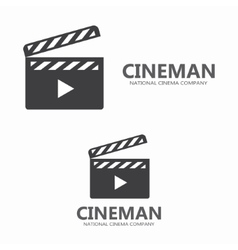 movie logo Clapper board logotype design vector image
