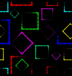 multicolored rhombuses and squares on a black vector image