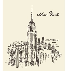 New York city architecture vintage drawn vector