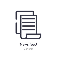 News feed outline icon isolated line from general vector
