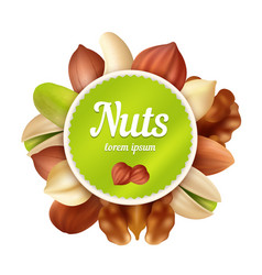 nuts background healthy food snacks and peanuts vector image