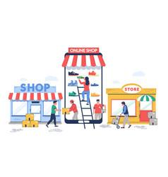 online to offline commerce flat vector image
