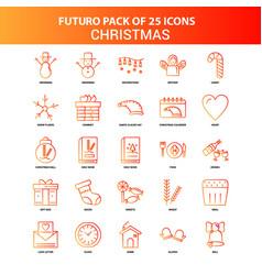 Orange futuro 25 christmas icon set vector