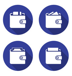 packed wallets icons set in flat style with long vector image