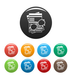 paycheck paper icons set color vector image