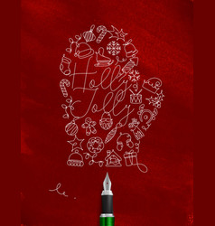 pen line drawing christmas tree toy glove red vector image