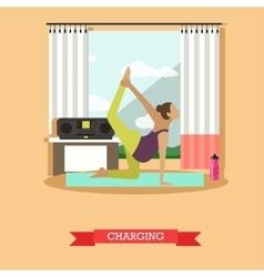 Pregnant girl doing morning exercises flat design vector