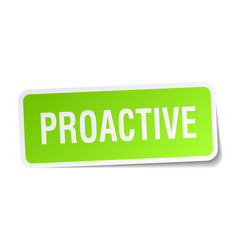 Proactive square sticker on white vector