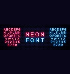 realistic neon english alphabet vector image
